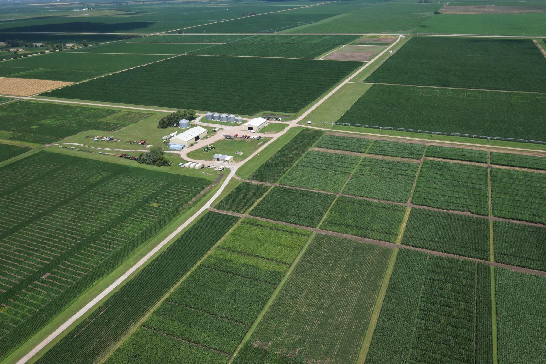 Soil fertility, weed management and crop variety research trials. SCAL research facilities are located near the center of the photograph.